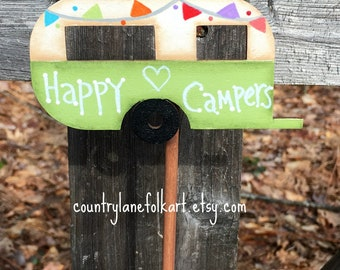 happy campers, camper decor, plant stick, plant pokes, mothers day gift idea, gift for gardeners, summer decorations, hand painted folk art