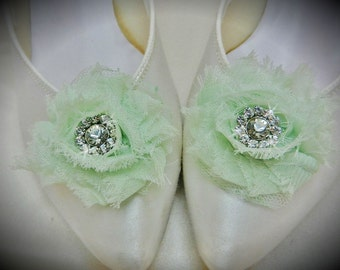 Mint Green Wedding Shoe Clips with Rhinestone Accent Shabby Chic