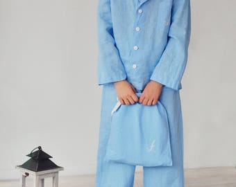 Linen Pajama Set Monogrammed For Boy 7-14 Years / Classic Pajama With Bag Personalized / Luxury Night Wear for Children