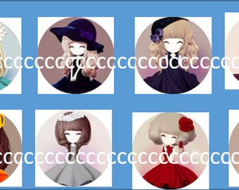 8 cabochons Glas 20 mm girl theme