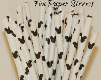 Paper Straws, 25 Mickey Mouse Party, Mickey Mouse Silhouette Straws, Mickey Mouse Party, Girls Birthday, Party, Baby Shower, Princess Party