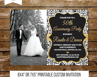 50 wedding anniversary invitation gold anniversary party 50th anniversary 40th black and white wedding surprise invite party printable 211