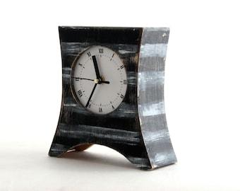 Desk Clock, Wood Clock, Table clock, White Stripes, Black clock, Black & white Mantel clock, Rustic Mantle decor, Office desk