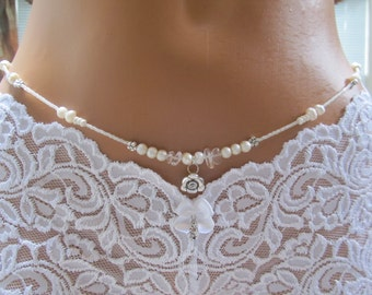 The Bride - Wedding Waist Beads - White Pearl with Flowers - Single Strand WaistBeads with Delicate Charm - Belly Beads