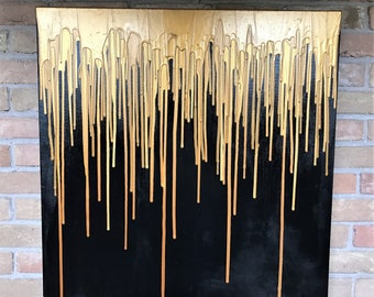 """8""""X8"""" Drip Painting Art Acrylic Commissioned Custom // """"Goldy"""" Canvas"""