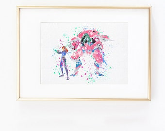 Overwatch Dva Diva Meka Watercolor silhouette Fine Art Print, instant digital download high quality poster for wall decor