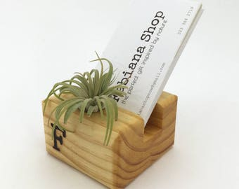 Vertical business card holder etsy vertical business card holder desk decor office decor desk organizer with air plant reheart Gallery