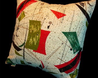 Vintage Retro Barkcloth Pillow Cover -- Diner Delicious 1950s -- Red Black Metallic Gold and Lime on Creamy White