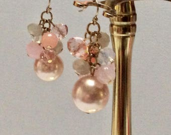 Glass beads and faux pearl drop dangle cluster earrings.