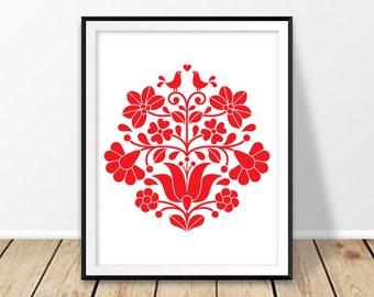 Digital download art, Hungarian print, Floral wall decor, Folk art design, Hungary wall art, Hungarian embroidery, Kalocsa, red, redkoala