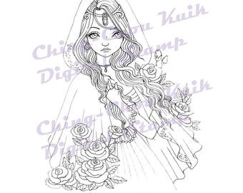 Autumn Rose - Digital Stamp Instant Download / Flower Hood Gothic Fairy Girl Fantasy Line Art by Ching-Chou Kuik