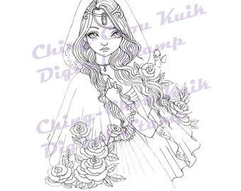Herfst Rose - digitale stempel Instant Download / bloem Hood Gothic Fairy meisje Fantasy lijntekeningen door Ching-Chou Kuik