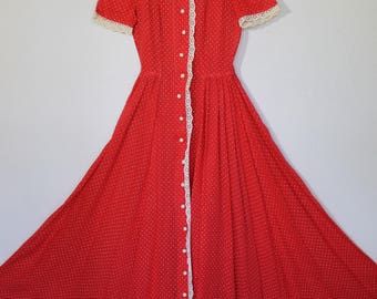 Vintage 30s 40s Red White Polka Dot Full Sweep Party GOWN Dress