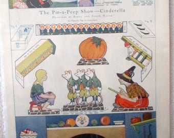 Pictorial Review Cinderalla Pin A Peep Show paperdoll uncut magazine page 1925