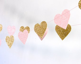 Hearts Garland, Glitter Paper Garland, Gold and Pink, Gold and Blush, Bridal Shower, Baby Shower, Pink and Gold Birthday, Pink Gold Party