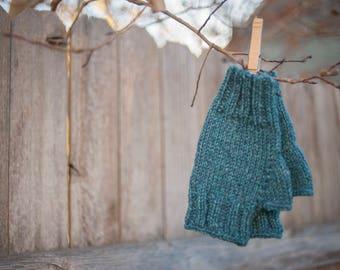 Hand knit blue fingerless women's gloves