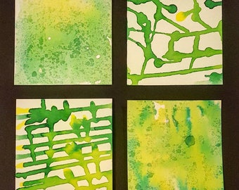 Watercolor Painting: Two Tone Mini Squares