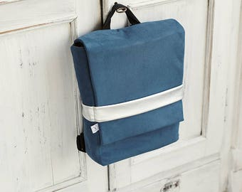 Faux Suede Blue Backpack, Minimalistic Backpack, Blue Backpack, Vegan Backpack, Bicycle rucksack, Folded backpack, Silver strap,Zipper