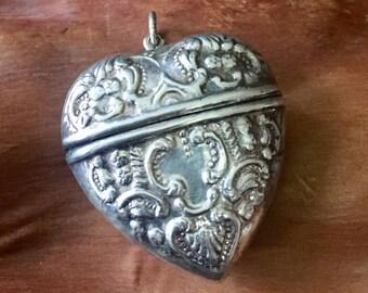Vintage Sterling Silver Repousse Heart Locket Pendant