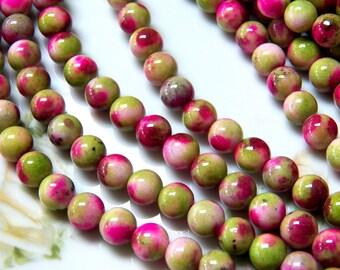 8mm Magenta & Green Apple Natural White Jade Polished Gemstone Beads, Half Strand (INDOC608)