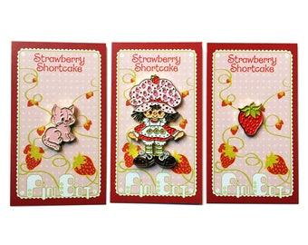 Strawberry Shortcake - Set of 3 Enamel Pins - Lapel Pins - Hat Pins