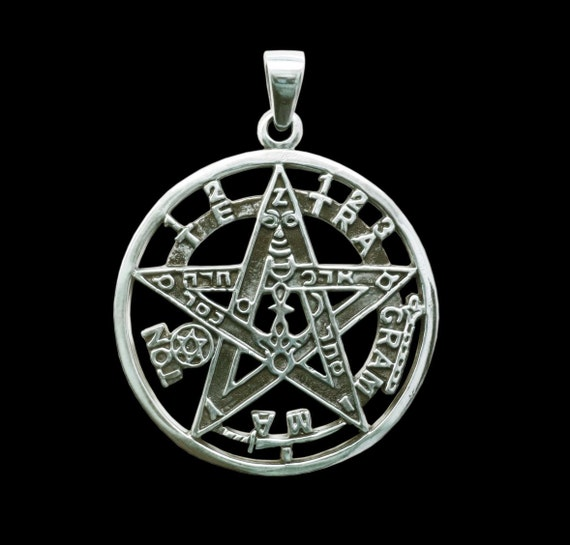 Tetragrammaton pendant sterling silver esoteric pentagram mozeypictures Gallery