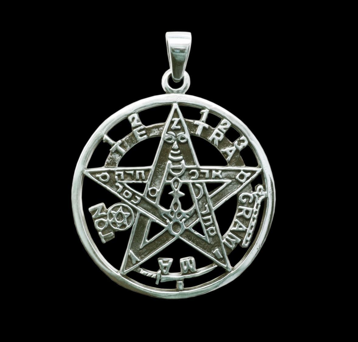 Tetragrammaton pendant sterling silver esoteric pentagram zoom aloadofball Images