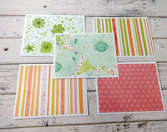 Note Card Set, Note Cards, Thank You Notes, Blank Cards, Set of 5 Note Cards with Matching Envelopes, Floral Note Cards, Floral Stripes
