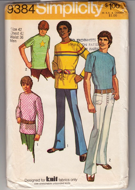 1960s Men's Clothing, 70s Men's Fashion 1970s Size 42Menswear Vintage Sewing Pattern Simplicity 9384 Mens Knit Sport Shirt in 2 Versions 1970s Size 42 $8.00 AT vintagedancer.com