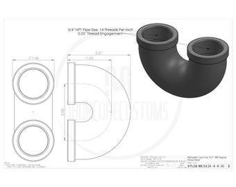 Iron Pipe 180-Degree Elbow Bend (Powder Coated)