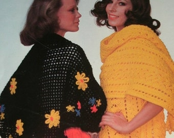 Columbia-Minerva Shawls by Viola Sylbert to Knit and Crochet - 6 Different Patterns - Trifold Leaflet - full Instructions. 1975