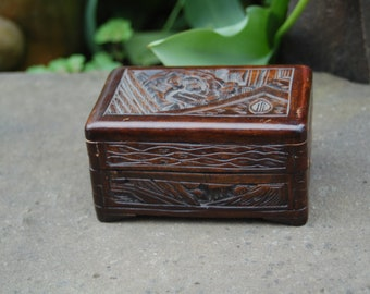 Antique Chinese Hand Carved Camphor Wood Box ~  Oriental Hand Carved Camphor Wood Jewelry Trinket Chest Box ~ Deeply Carved Camphor Wood Box