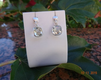 Silver earrings, sterling silver with sparkling faceted green amethyst