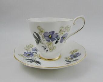 Royal Grafton Vintage Tea Cup and Saucer with Purple Flowers, English Bone China