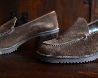 80s Vintage Shoes | Brown Suede Simple Loafers | Size 6 1/2 6.5