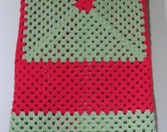 Holiday (Red and Green) Granny Square Afghan