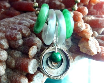 Discs Necklace Green Jade and Rock crystal Quartz donut discs with antique watch parts steampunk OOAK jewelry