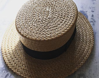 Mens Vintage Carnival Hat / Weaved Hat / Straw Hats / Weaving Style / Black Bow / Costume