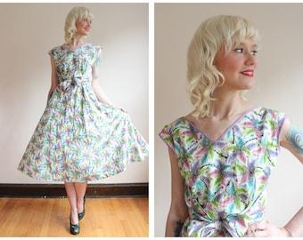 1950s Dress // Walk-Away Cotton Wrap Dress // vintage 50s dress