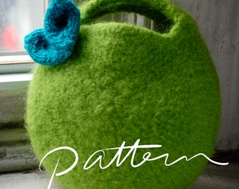 PATTERN - Felt Bag Pattern - Digital Download-  Felted Berry Bag and Knitted Leaf - Small Circular Clutch - Knitting Pattern for Kids