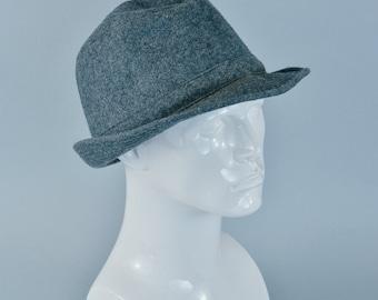 """Vintage Men's C&A Grey Wool Blend Fedora Trilby Hat Mad Men Large 58cm 23"""""""