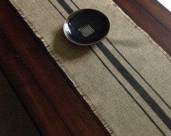 Burlap Table Runner 10 to 14x48 or 60 Inch Black Striped Rustic Burlap Table Runner Choice of Color