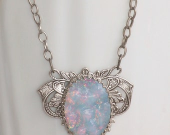 RARE Rainbow White Opal Cabochon Necklace,UNIQUE Vintage Glass Opal,Textured Cabochon,Antique Silver Filigree Necklace,Large Opal,Womens