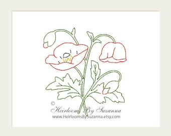 Floral Colorwork Machine Embroidery Design - Antique Flower Design - Poppies - Colorwork - Machine Quilt Embroidery - 3 Sizes - Flower No.4