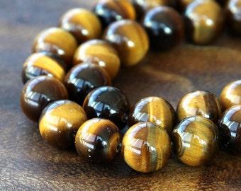 A Grade Tiger Eye Beads, Honey Yellow, 8mm Smooth Round - 15 Inch Strand - eGR-TE004-8