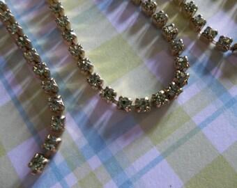 2mm Green Olivine Rhinestone Chain - Brass Setting - Preciosa Czech Crystals