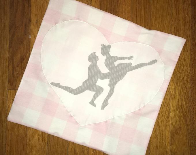 Pink Buffalo Plaid Ballerina Ballet Pillow Cover Farmhouse Pillow 16x16 Pillow Cover Wedding Gift Valentine