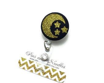 Moon and Stars ID Badge Reel - Retractable Badge Reel -Fabric Badge Holder - Fabric ID Badge Reel - Glitter Moon and Stars ID Badge Reel