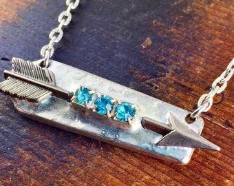 Soldered Arrow with Turquoise Rhinestones, Bar Style Necklace, Follow Your Arrow, Soldered Jewelry, Silverware Jewelry, Wanderlust