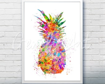 Pineapple Watercolor Art Print  - Fruit Watercolor Art Painting - Pineapple Poster - Kitchen Decor - Home Decor - House Warming Gift